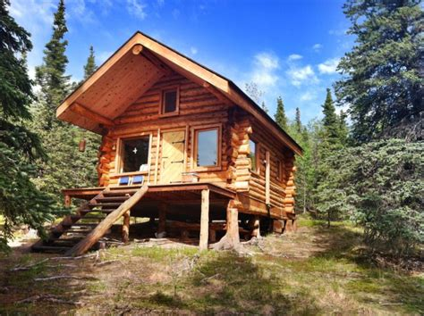 log cabin  alaska boasts wooden architecture spacious kitchen