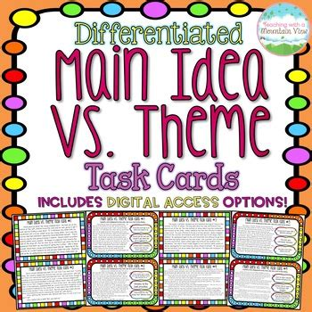 theme definition vs main idea main idea vs theme task cards by teaching with a mountain