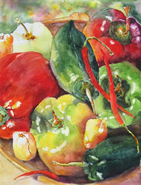 vegetables painting food garden peppers vegetable patch print of original
