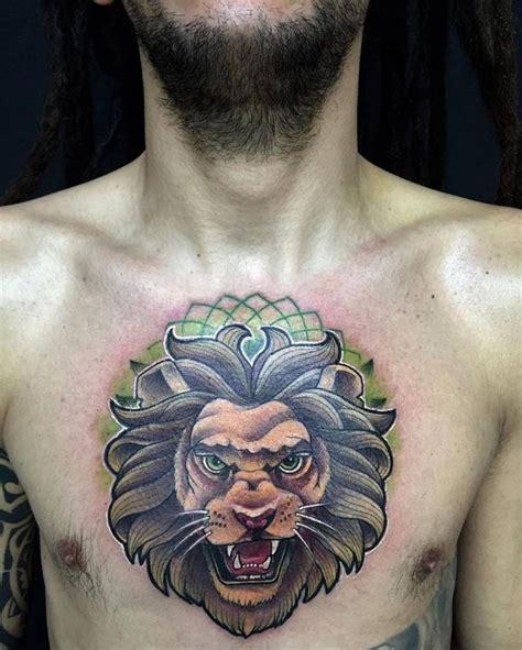 animal tattoo chest new school lion tattoo on the chest animal tattoos