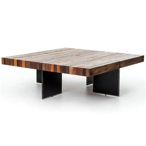 dayle rustic lodge chunky square wood iron coffee table