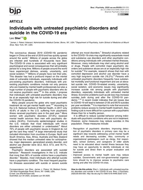 (PDF) Individuals with untreated psychiatric disorders and