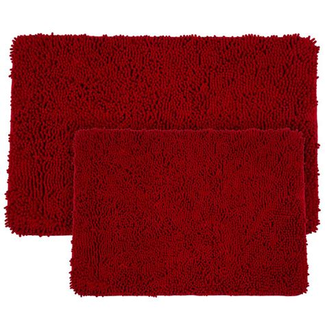 burgundy bath rugs lavish home shag burgundy 21 in x 32 in memory foam 2 bath mat set 67 18 bu the home depot