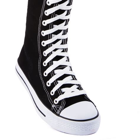 womens knee high canvas sneakers casual boots lace up