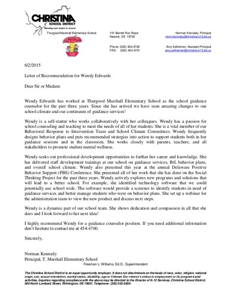 Recommendation Letter For Principal Principal Letter Of Recommendation For Wendy Edwards