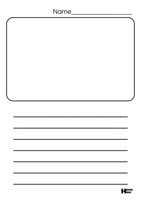 printable lined paper with drawing box paper blank writing paper with picture box