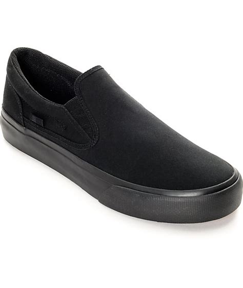 dc trase black canvas slip on shoes at zumiez pdp