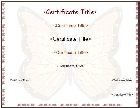 cute butterfly certificate