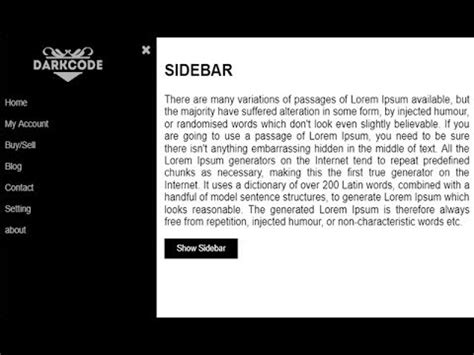 sidebar layout html css make an awsome sidebar with html and css youtube