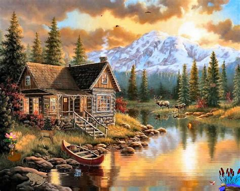 Judith Mountain Cabin drawings nature pictures cabin and deer wallpapers