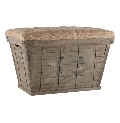 long storage ottoman french country black lettering long storage crate burlap
