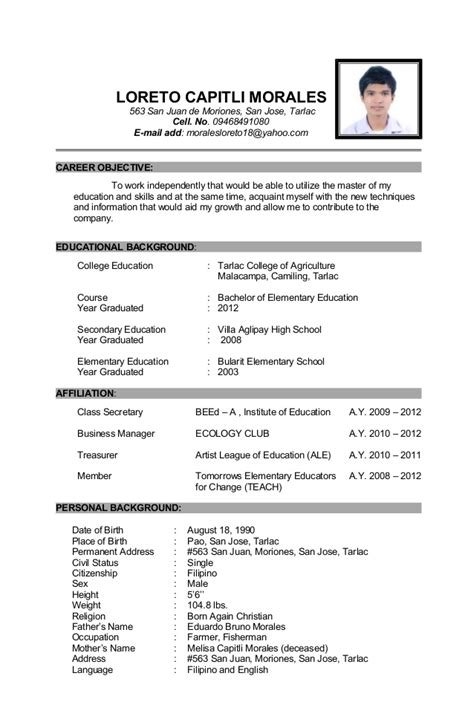 Sle Of Updated Resume 2016 How To Write Educational Background In Resume 19 Images Sle Of Application Letter In Cover