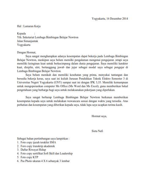 contoh surat lamaran kerja sebagai guru bimbel ben