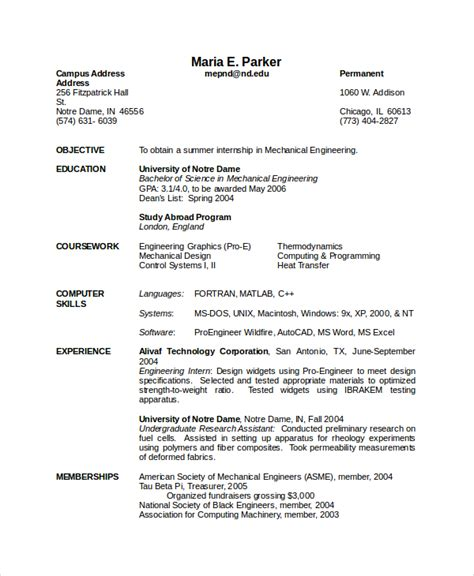resume templates for mechanical engineers 7 engineering resume template free word pdf document