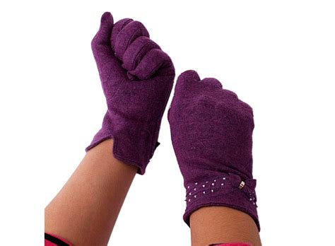 warm purple purple warm rabbit hair gloves with bowknot palm 8 5cm women s f00788 buy at lowest prices