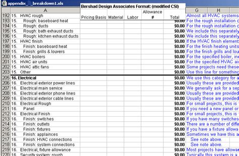 construction material list template excel