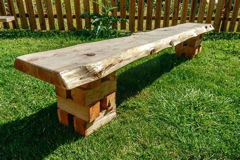 slab bench cedar slab bench w crib base orcas workshop