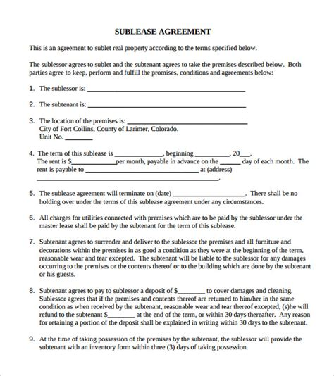 commercial sublease agreement template agreement template 27 free word pdf documents