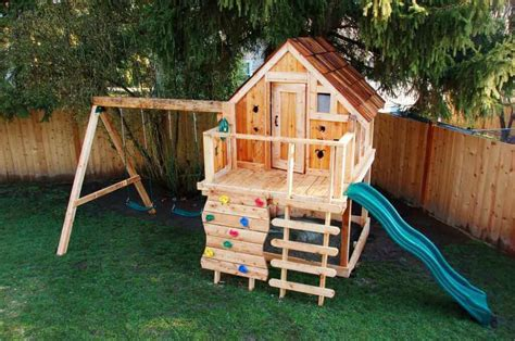 small swing sets and playhouse for small backyard
