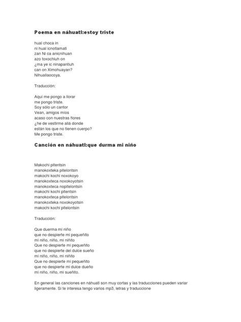 poema en nahuatl y su traduccion poema nezahualc 243 yotl poema en n 225 huatl