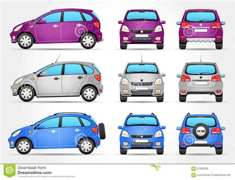 cartoon car back vector suv car front back view stock vector