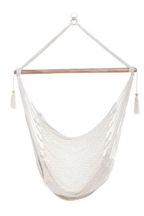 white swing chair hanging hammock chair organic cotton bright white