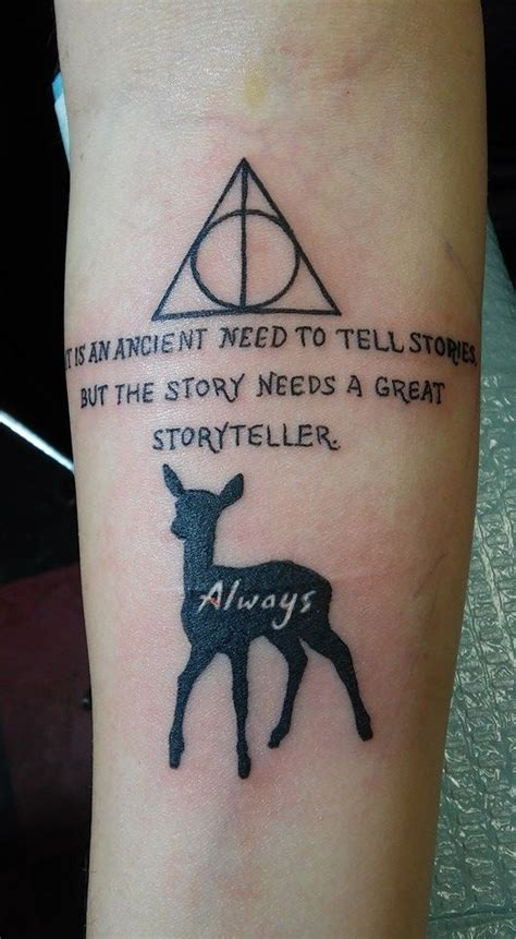 snape tattoo deathly hallows symbol from harry potter a quote by alan