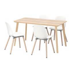 leifarne lisabo table and 4 chairs ash veneer white 140x78