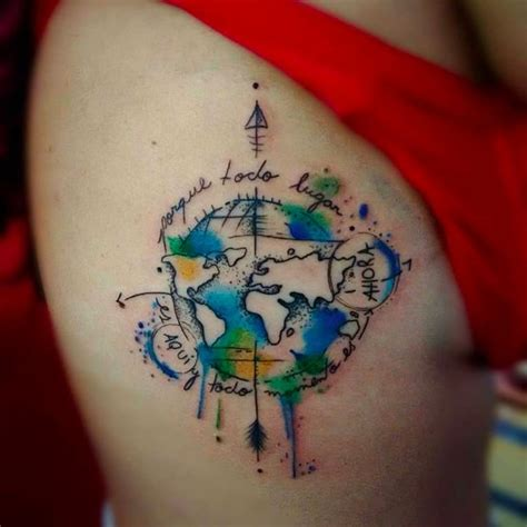 tattoo compass world map world worldmap compass travel tattoo watercolor