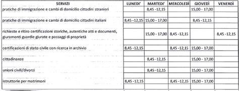 ufficio anagrafe orari riorganizzazione uffici servizi demografici e statistica