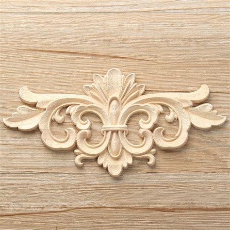 kiwarm vintage unpainted wood carved decal corner onlay