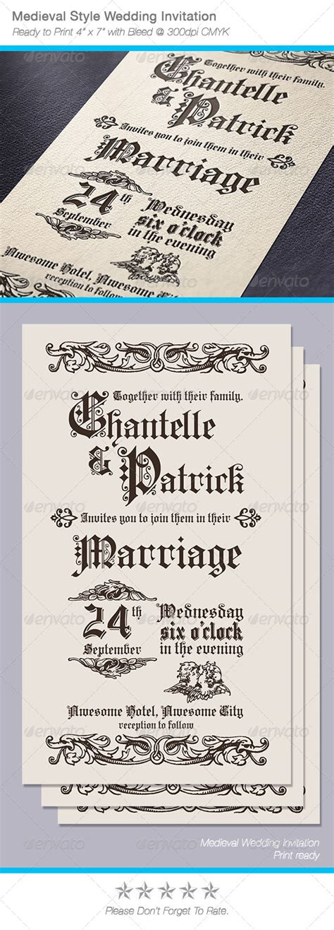 mideval card templates style wedding invitation by abellangbid