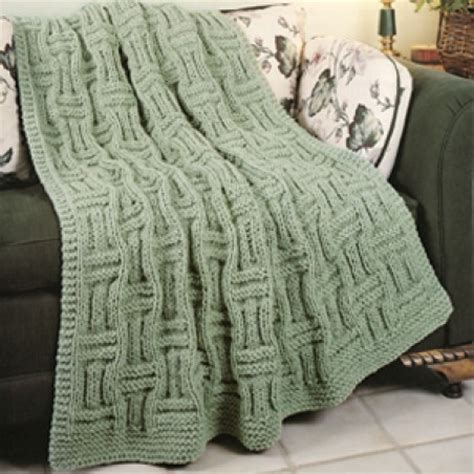 Knit Basketweave Afghan Knit Epattern Leisurearts