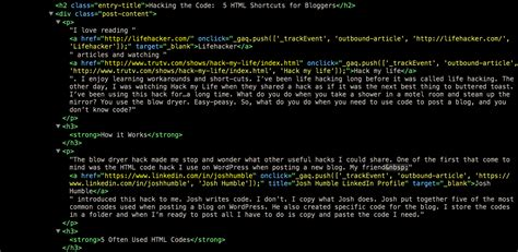 good hack ideas code hacking the code 5 html shortcuts for bloggers tko graphix