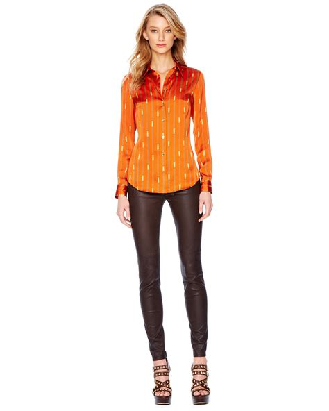 For Printed Satin by Michael Kors Printed Satin Fitted Blouse In Orange Orange