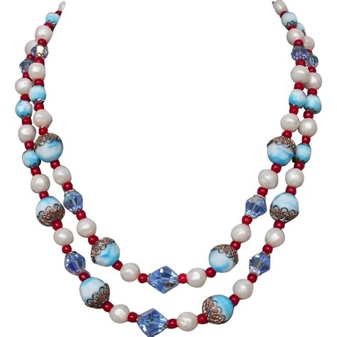 Crystall Glasses Blue Necklace blue white faux pearls glass bead vintage necklace from fleamarket on ruby