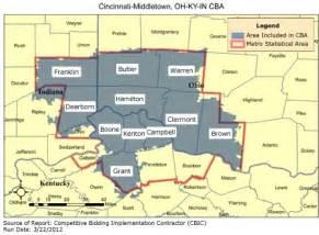 Cincinnati Zip Code Map by Cbic Round 1 Recompete Competitive Bidding Area