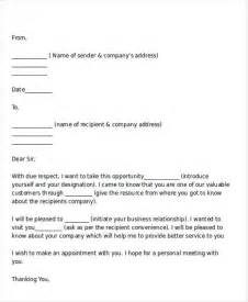 Personal Introduction Letter For Business Introduction Letter Templates 7 Free Sle Exle