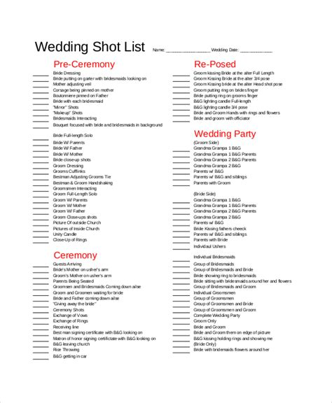 wedding photography list template list template 10 free word pdf psd documents