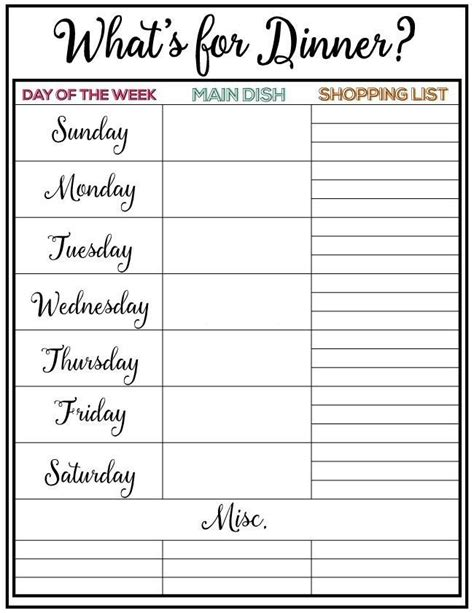 printable monthly meal planning calendar weekly meal plan for week 5 full of healthy delicious