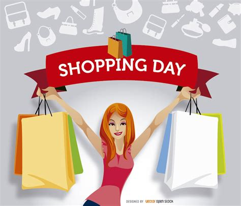 shopping for s day shopping ribbon promo vector