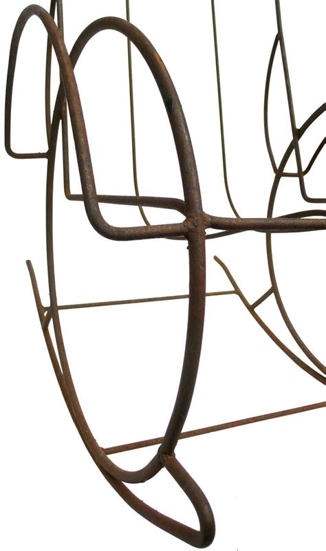 wrought iron rocking bench pair of modernist wrought iron rocking chairs at 1stdibs