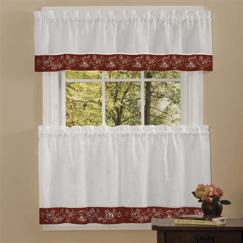 kitchen drapes and valances oakwood linen style kitchen window curtains tiers or valance burgundy ebay