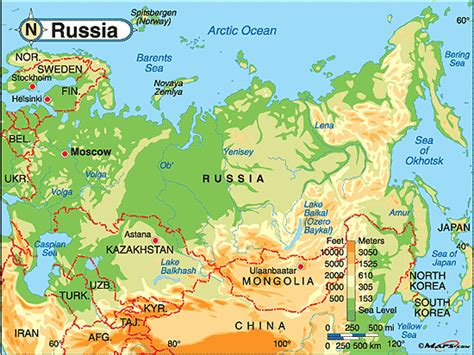 map of russia with cities rivers and mountains russia physical map by maps from maps world s largest map store
