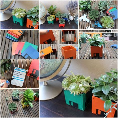 Pot Bunga Daiso how to make floppy diskette flower pots step by step