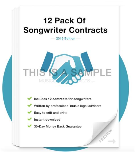 Songwriter Contract Pack 12 Contracts Songwriter Agreement Template