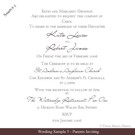 Free Wedding Invitation Wording Sles Truly Madly Deeply Pty Ltd Wedding Invitation Wording Templates