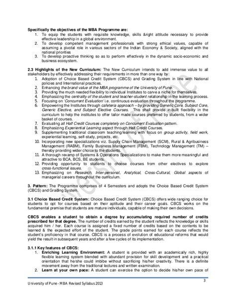 Mba 2013 Syllabus Pune by Mba Syllabus 2013 Cbcgs Pattern