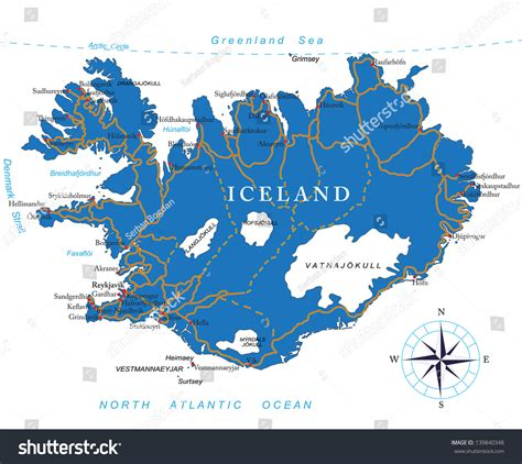 iceland map vector iceland map stock vector 139840348