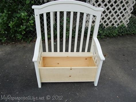 baby crib bench hometalk upcycled repurposed crib into toy box bench